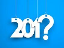 Que ano em seguida? Metáfora do ano novo Palavras brancas no fundo azul Fotografia de Stock Royalty Free