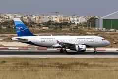 A320 que aterriza Fotos de archivo libres de regalías