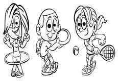 Que colorea ` de la serie del niño del deporte del ` de la página ilustración del vector