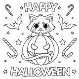 Que colorea ` del feliz Halloween del ` de la página libre illustration