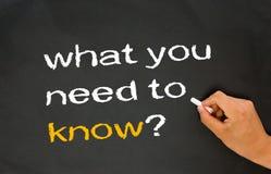 Que devez-vous savoir ? image stock