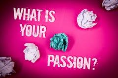 Que do texto da escrita \ 'S sua pergunta da paixão Significado do conceito que pergunta alguém sobre seus sonhos e luz das esper imagem de stock