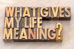 Que donne ma signification de la vie ? photo stock