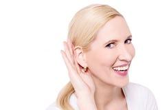 Que faz você disse, mim não pode o ouvir? Imagem de Stock