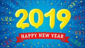 2019 que pone letras hincha en tarjeta de felicitación colorida de la Feliz Año Nuevo del confeti y de la cinta stock de ilustración