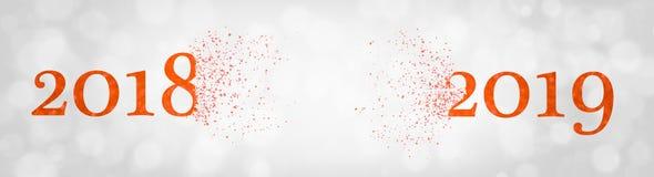 2018 que se rompe en pedazos para formar 2019 Concepto del Año Nuevo y del cambio del año Tema coralino de vida - color del año 2 foto de archivo libre de regalías