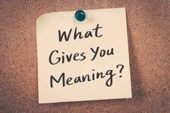 Que te donne la signification ? images stock