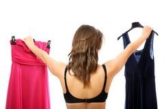 Que vestido a escolher? Fotos de Stock Royalty Free