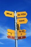 Que voulez-vous faire ? Images libres de droits