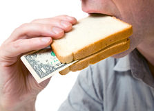 Que vous pouvez placer dans un sandwich - votre argent. Photo stock