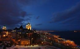 Quebec-alte Stadt und der Heilig-Lawrence-Fluss Stockfotos