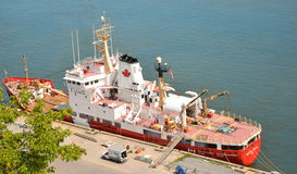 QUEBEC, CANADA - AUGUST 20, 2014: Fishing boat. View from above. Royalty Free Stock Photo