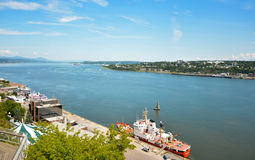 QUEBEC, CANADA - AUGUST 20, 2014: Fishing boat. View from above. stock photo