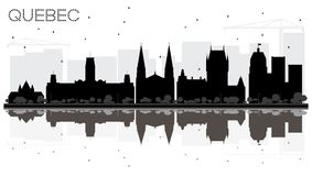 Quebec Canada City skyline black and white silhouette with Reflections. Vector illustration. Business travel concept. Quebec Cityscape with landmarks stock illustration