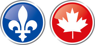 Quebec and canada emblem Royalty Free Stock Images