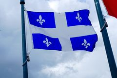 Quebec canada flag french canadian country culture montreal. Quebec flag canada province french culture nation royalty free stock photo