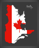 Quebec Canada map with Canadian national flag illustration Stock Photo