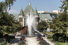 Quebec, Canada 12.09.2017 Modern fountain by Charles Daudelin in front of Gare du Palais train station in Quebec, Canada Royalty Free Stock Photography