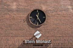 Quebec, Canada 12.09.2017 Vintage Station Clock On A Red Brick Wall at Stein Monat lawyer building editorial Stock Photo
