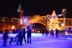 Quebec Carnaval: Het schaatsen van de nacht scène Royalty-vrije Stock Fotografie
