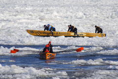 Quebec Carnival: Ice Canoe Race Stock Photo