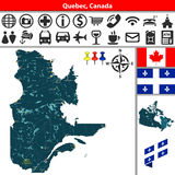 Quebec with cities, Canada Royalty Free Stock Image