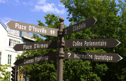 Quebec city. Tourist sign to indicate the direction of most of quebec city attractions Royalty Free Stock Image