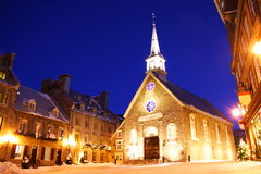 Quebec City. Famous landmark. The church at Place Royale. Winter in Quebec, Canada Royalty Free Stock Photography