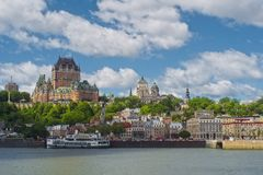 Quebec city as seen from Quebec Levis ferry. Quebec cityscape and the Saint Lawrence seaway with ferry and the Chateau Frontenac in Quebec City as a background stock images