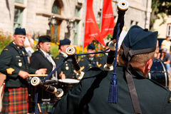 Gagetown pipes and drums band in Quebec City Royalty Free Stock Photography