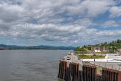 Quebec City, Canada, boardwalk by the river. View of saint laurence river and board walk royalty free stock image