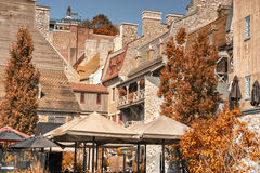 Quebec city, Canada. Buildings in Old Quebec city, sunny fall day Royalty Free Stock Photos