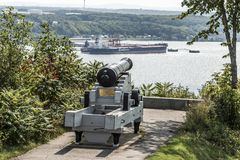 Quebec City Canada 11.09.2017 Cannon on plaines Abraham overlooking Saint Lawrence river and Jean-Gaulin Refinery Stock Image
