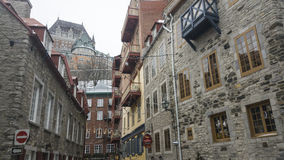 Quebec City, Canada Fairmont Le Chateau Frontenac view from Rue Notre Dame. Stock Photography