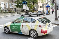 Quebec City Canada 11.09.2017 Google Street View vehicle car apping streets throughout the city center of Quebec stock images