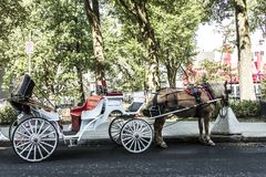 Quebec City Canada Horse drawn carriage tours through Historic District which is UNESCO World Heritage Site Royalty Free Stock Photo