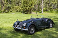 Classic 60s Morgan sports car painted in British Racing Green shown during the Rendez-vous British event. Quebec City, Quebec, Canada, June 1, 2019 - Classic 60s stock photos