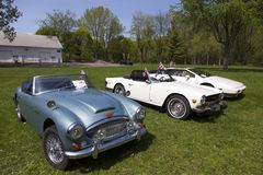 Vintage 60s Austin-Healey convertible car in pale blue shown next to other classic cars royalty free stock image
