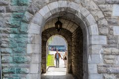 QUEBEC CITY, CANADA - MAY 19, 2018: People at streets. Locals and tourists in Quebec city stock image
