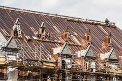Quebec city Canada 19.09.2017 Roof restauration famed Quebec armory reconstruction following fire destroyed editorial Stock Images