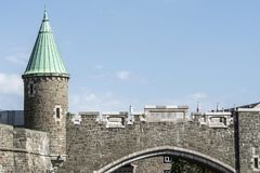 Quebec City, Canada Saint John`s Gate Fortress entrance to old town street Royalty Free Stock Photos
