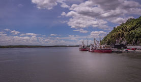 Quebec City, Canada, saint laurence river. View of ships on the river royalty free stock photos