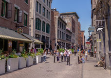 Old Montreal, Canada , street photography. Old Montreal busy with pedestrians royalty free stock photos