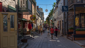 Quebec City, Canada, Street photography. Shoppers strolling the cobblestone streets royalty free stock photo