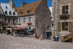 Quebec City, Canada, Street photography. Tourists and shoppers strolling and dining stock photos