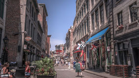 Quebec City, Canada, Street photography. Tourists and shoppers strolling the streets royalty free stock photo
