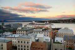Quebec City. Cruise ship and lower town old buildings at sunset in Quebec City Royalty Free Stock Photos