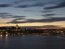 Quebec City an der Dämmerung Stockbild