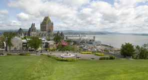 Quebec City and docks, Canada. The impressive Chateau Frontenac overlooking Quebec City, docks and St. Lawrence Stock Images