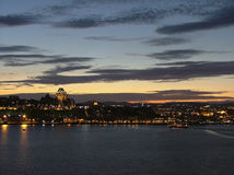 Quebec city at dusk. Viewed from across the St-Laurence river stock image